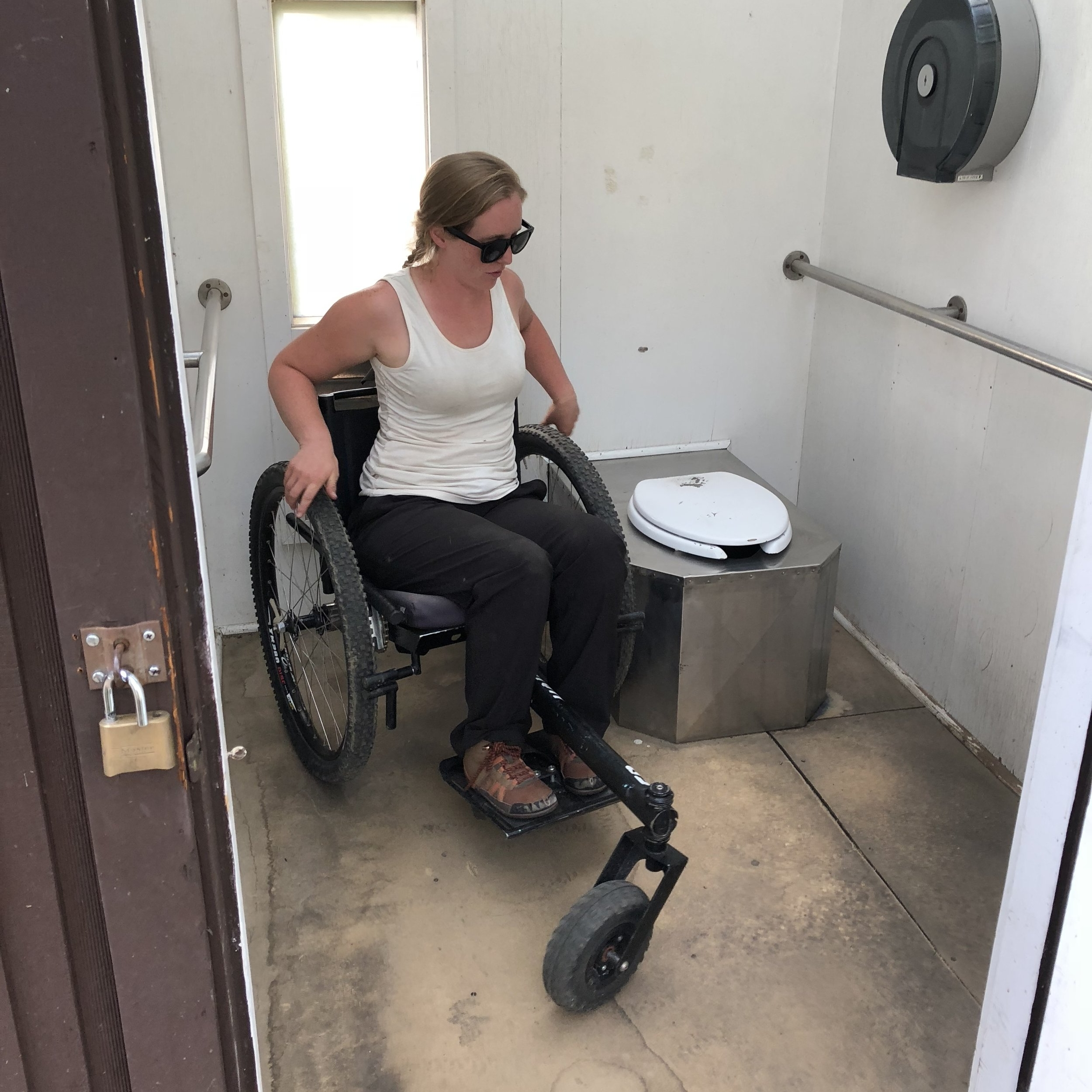 The GRIT Freedom Chair can fit into most ADA-approved campsite and trail bathrooms.