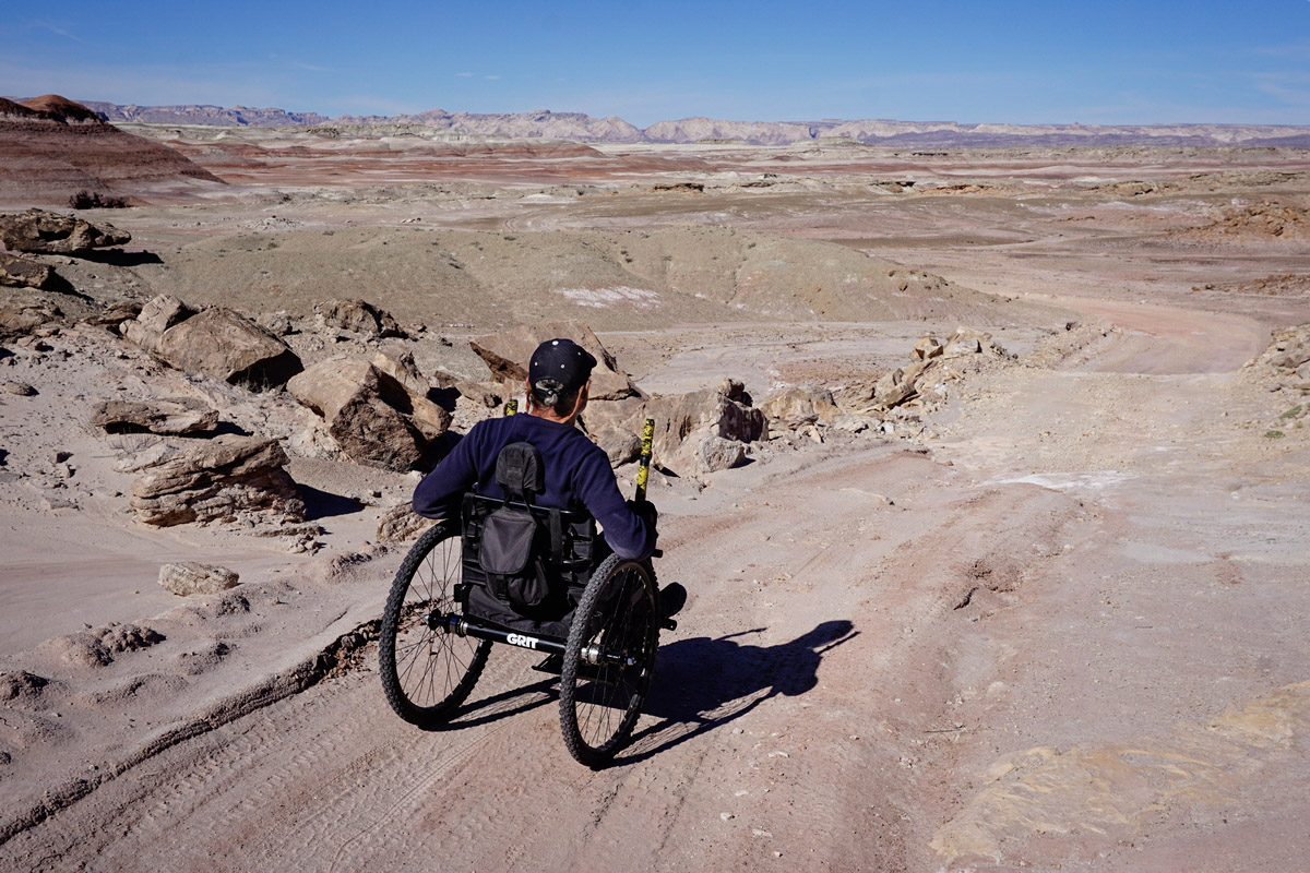 A GRIT Freedom Chair rider at Capitol Reef National Park