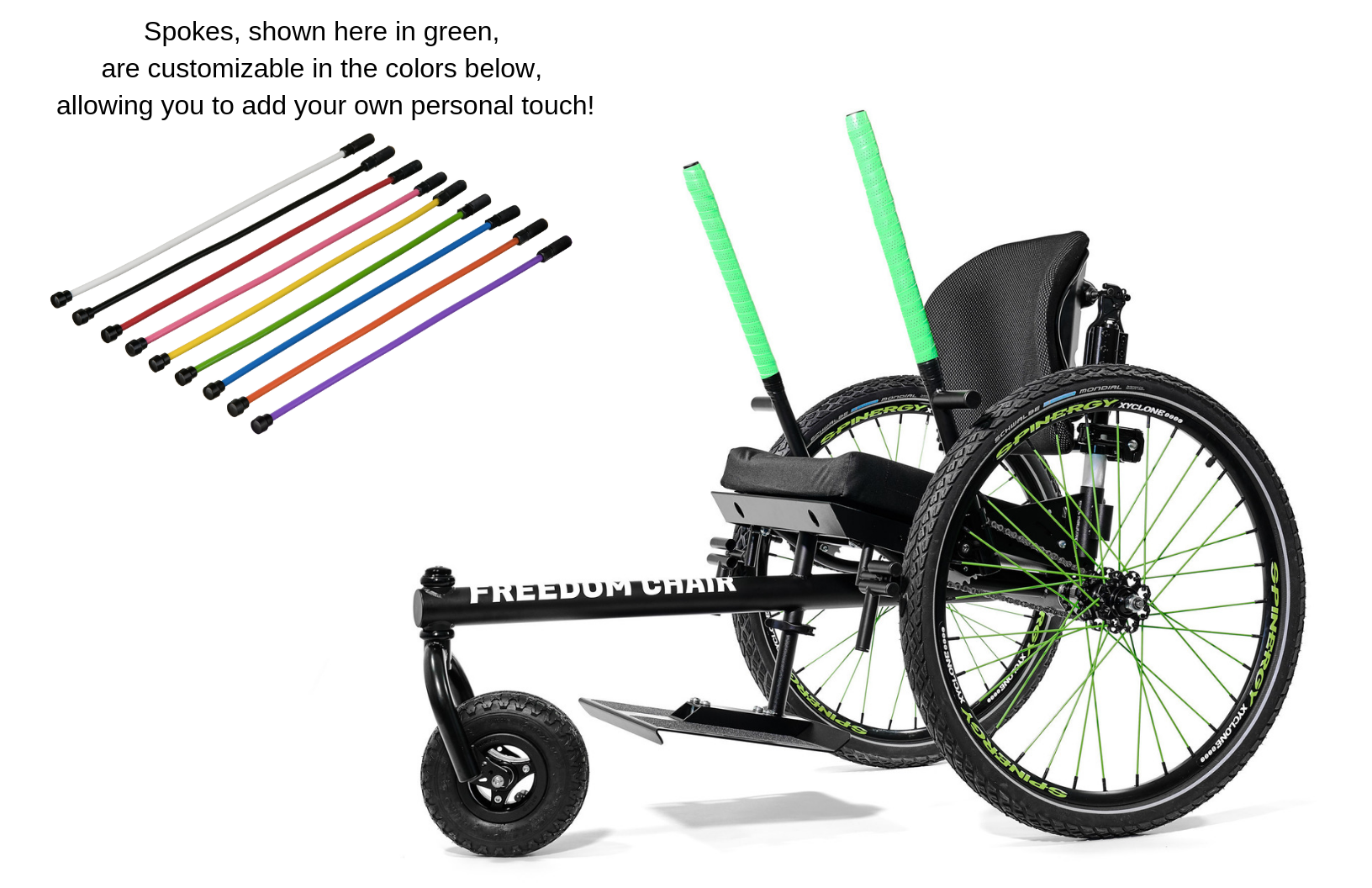 Spokes, shown here in green, are customizable in the colors below, allowing you to add your own personal touch!.png