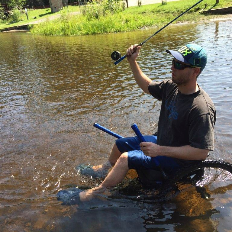 Pleasantly surprised that I was able to move around the river with the GRIT Freedom Chair, which allowed me to experience one of my favorite outdoor activities again - fly fishing.    —Mark , T7 paraplegic