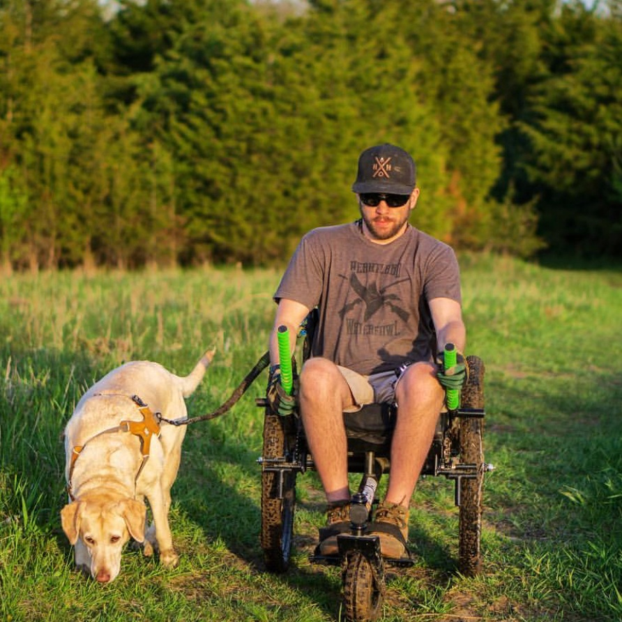 We've been hiking everyday for the past couple of weeks, over a lot of hills and through more mud than I ever thought possible.    —Ty , C5 quadriplegic