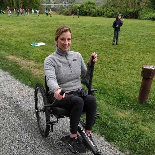 """This chair has given me the freedom to keep up with my family on hikes or bike rides, to go on """"walks"""" with my friends, and to roll over acres of uneven fields for sporting events.    —Beka"""