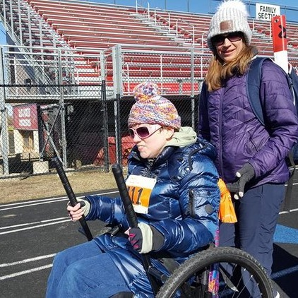 I have an adult daughter with CP. We don't have a lift van and we were looking for a chair we could transport that didn't need someone to push. We can finally shop together and I can push a cart instead of her. Katie is training for a 5K!    —Kathy