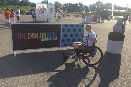 I had SO much fun riding in the Twin Cities Color Run today! I've never done a Color Run before and I didn't quite know what to expect, but it was incredible! I've run 5Ks before, but since my disability started getting worse and I needed to start utilizing a wheelchair, I haven't been able to compete. My Freedom Chair gave me the ability to race today and I even passed most of the people racing with me!    —Hayden