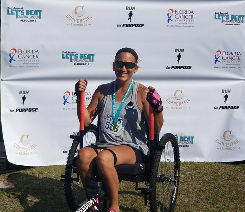"""I competed in the """"Let's Beat Ovarian Cancer'""""race in Tampa Florida…It was uplifting to be around so many survivors of ovarian and other forms of cancer, yet they were congratulating ME for competing in the race! I plan on going back next year.     —Michelle"""