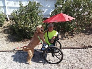"""Neither a stroke, nor three bouts with cancer, nor blindness, nor two leg amputations has stopped Stephen from powering forward. He now uses his Freedom Chair to stay active, to garden, to work out, and to maintain the athletic mentality he's nurtured his entire life. He's even trained his pup from his GRIT chair!    """"Let me fail. Someone who isn't making a lot of mistakes isn't trying hard enough. I'm really good at finding my boundaries, and then I'm okay getting help.""""     Read more about Stephen"""