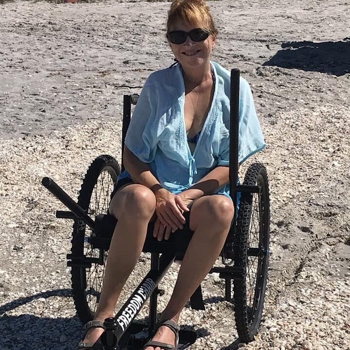 [Here I am] at Manasota Key Beach, FL, looking for shark teeth. Found some! My GRIT did pretty well on the sand, even without beach wheels.    —Laura