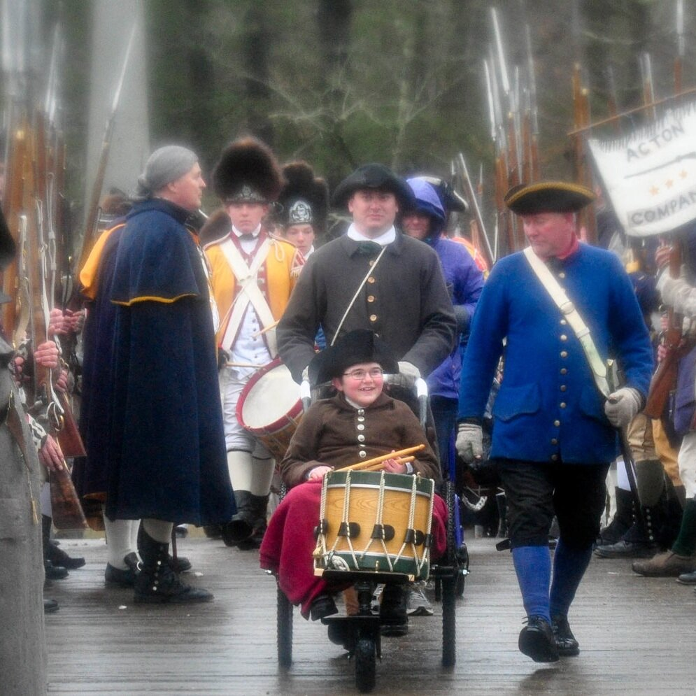 John, a fourteen-year-old phenom from Anchorage, Alaska, used the GRIT Freedom Chair to help fulfill his wish to participate in the reenactment of the Battle of Lexington and Concord, commemorating the start of the American Revolution. John worked with the Make-a-Wish Foundation, GRIT, and local reenactors, including the Acton Minutemen, to make his wish come true.   John McConnell, Duchenne Muscular Dystrophy    Read more about John