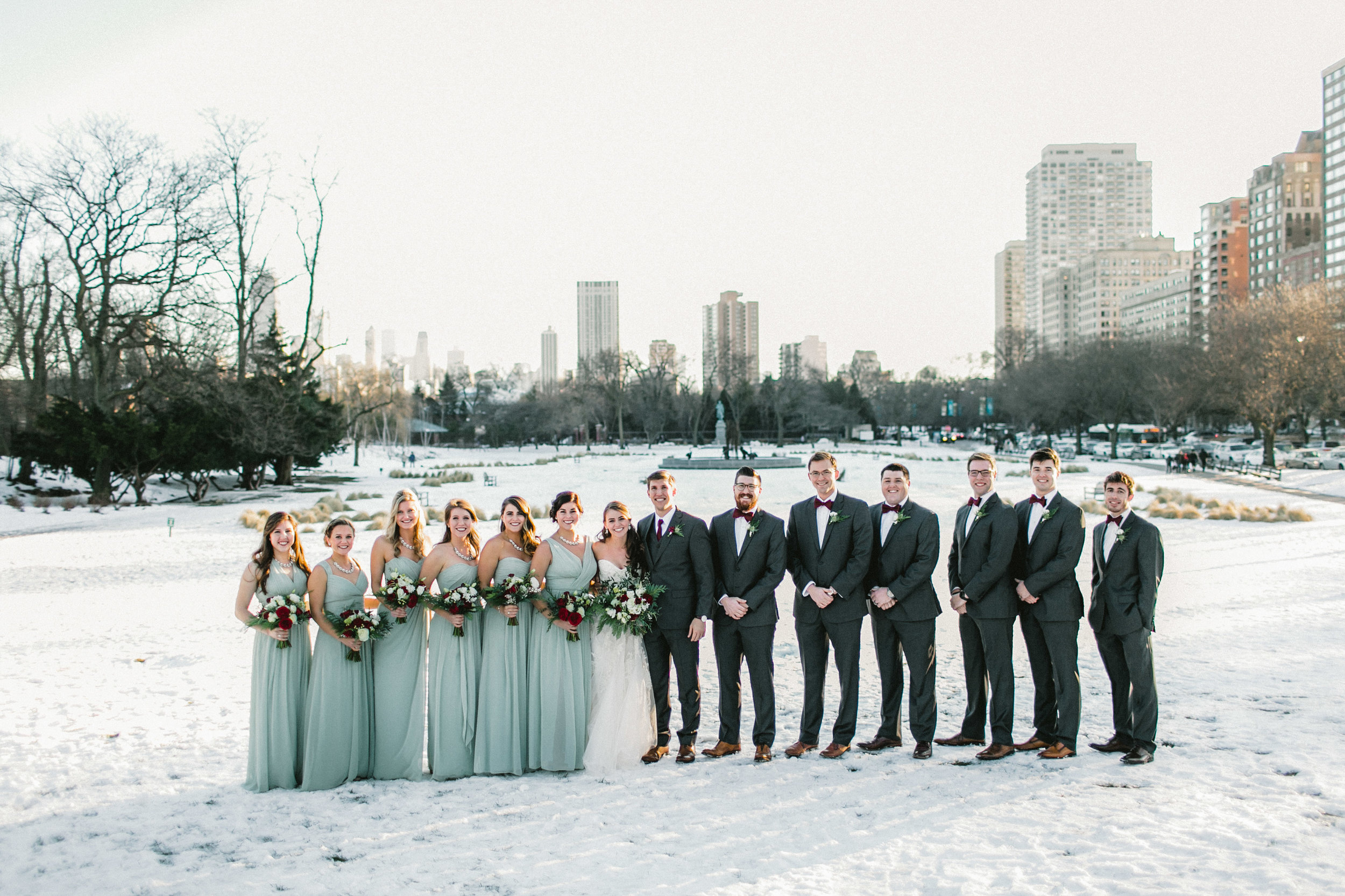 Winter Snowy Wedding bridal party