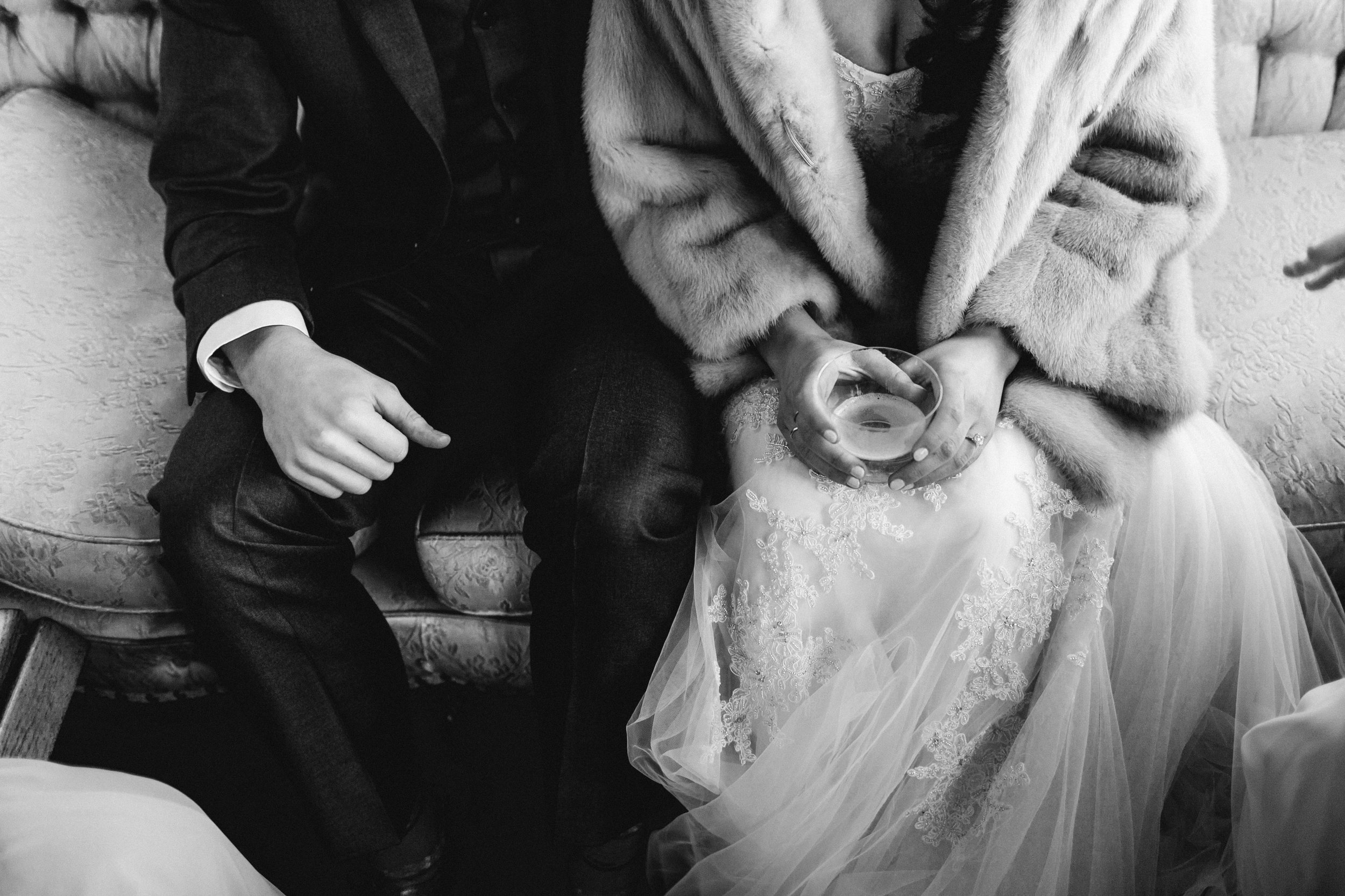 Winter Wedding Portraits Mayden Photography Washington Fur Coat