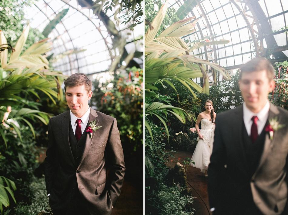 BrideAndGroomFirstLookConservatoryWedding
