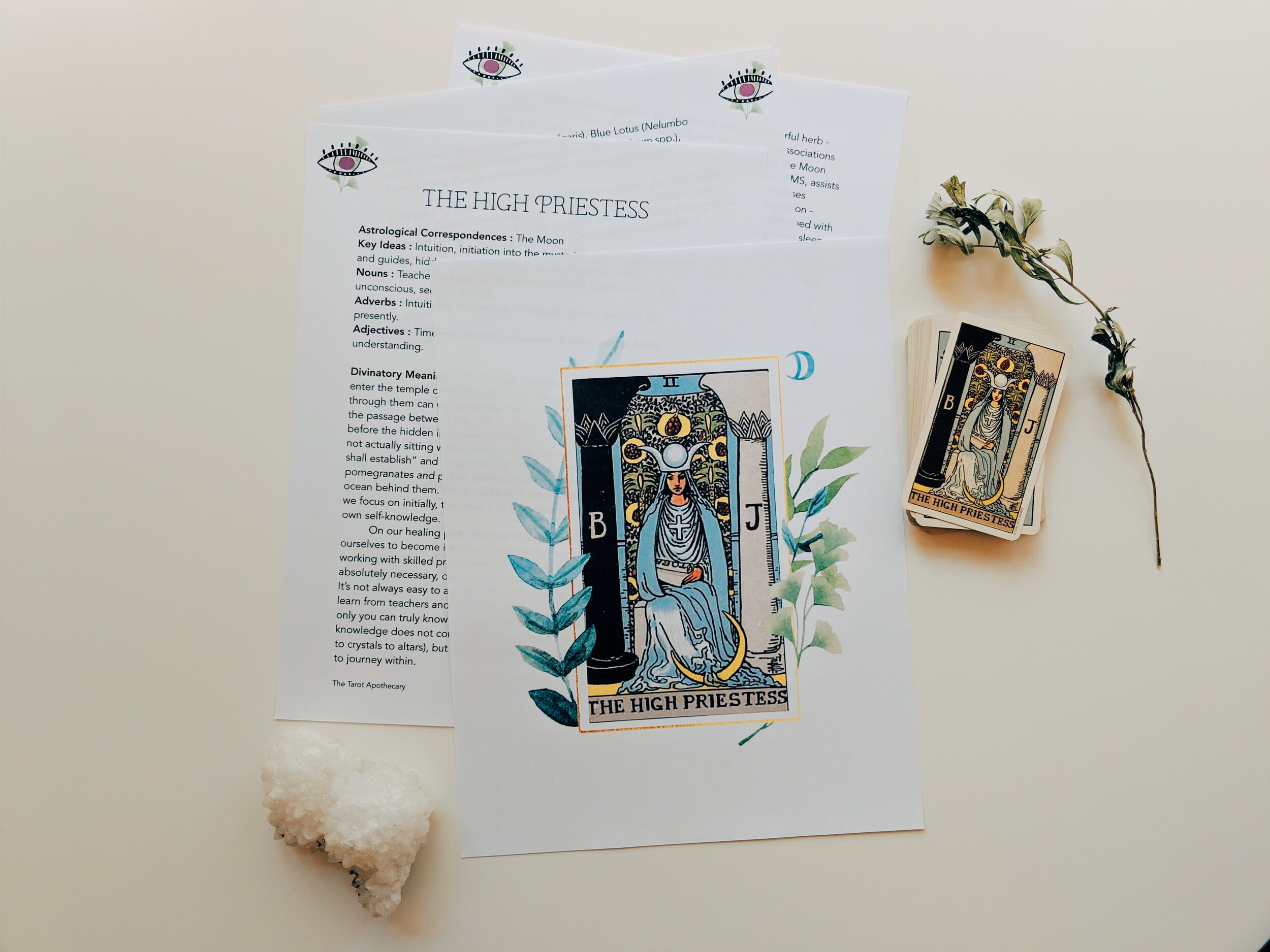 The High Priestess profile from  The Tarot Apothecary