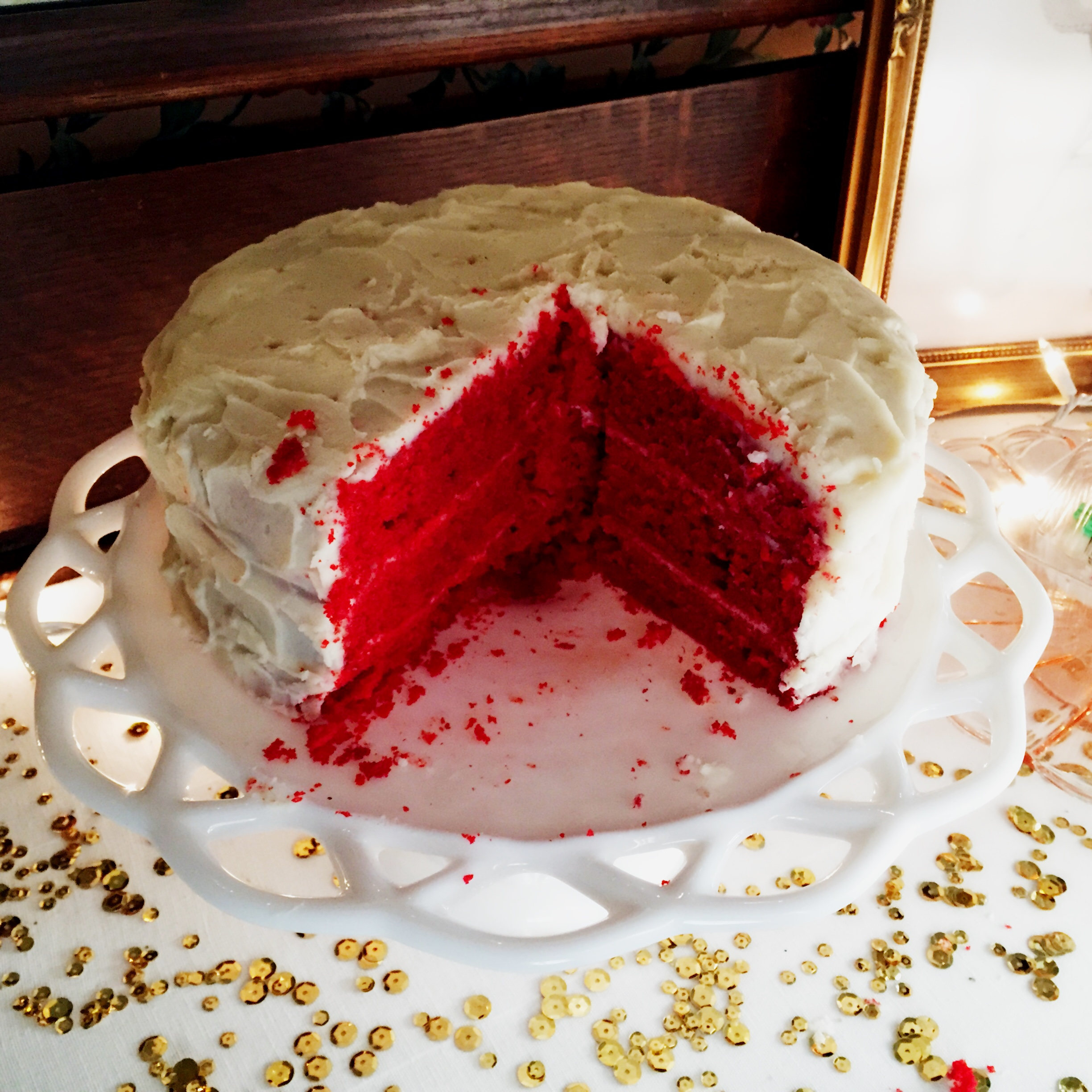 This red velvet cake is seriously the best! And it has the most delicious cream cheese icing!!