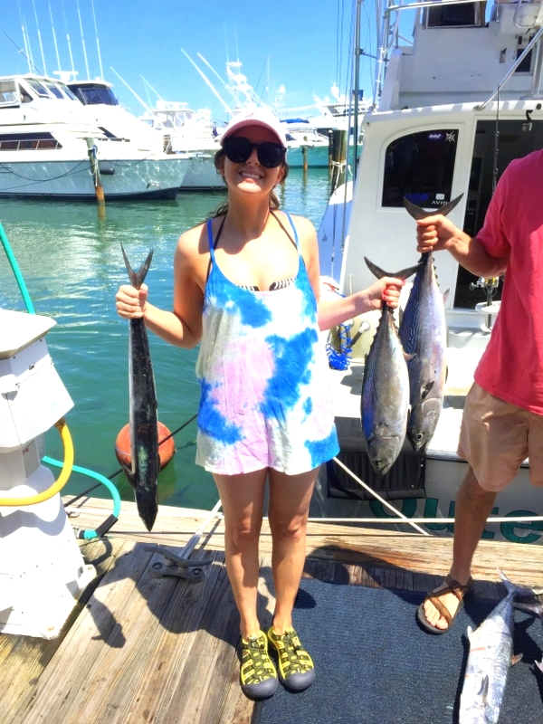 So proud of my two fishes! Look how much bigger David's Bonita is than mine...oh well! Also, how much are you all loving my outfit ensemble here? Kind of hard to make a fashion statement when you're deep sea fishing and just walking on the boat is a chore in itself.