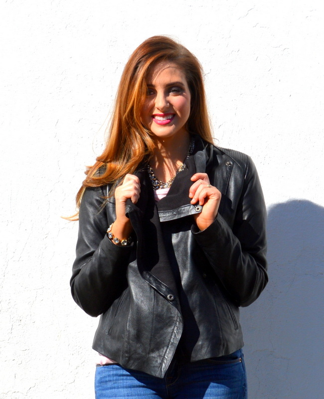 Love leather jackets for cooler days when you don't need something too heavy!