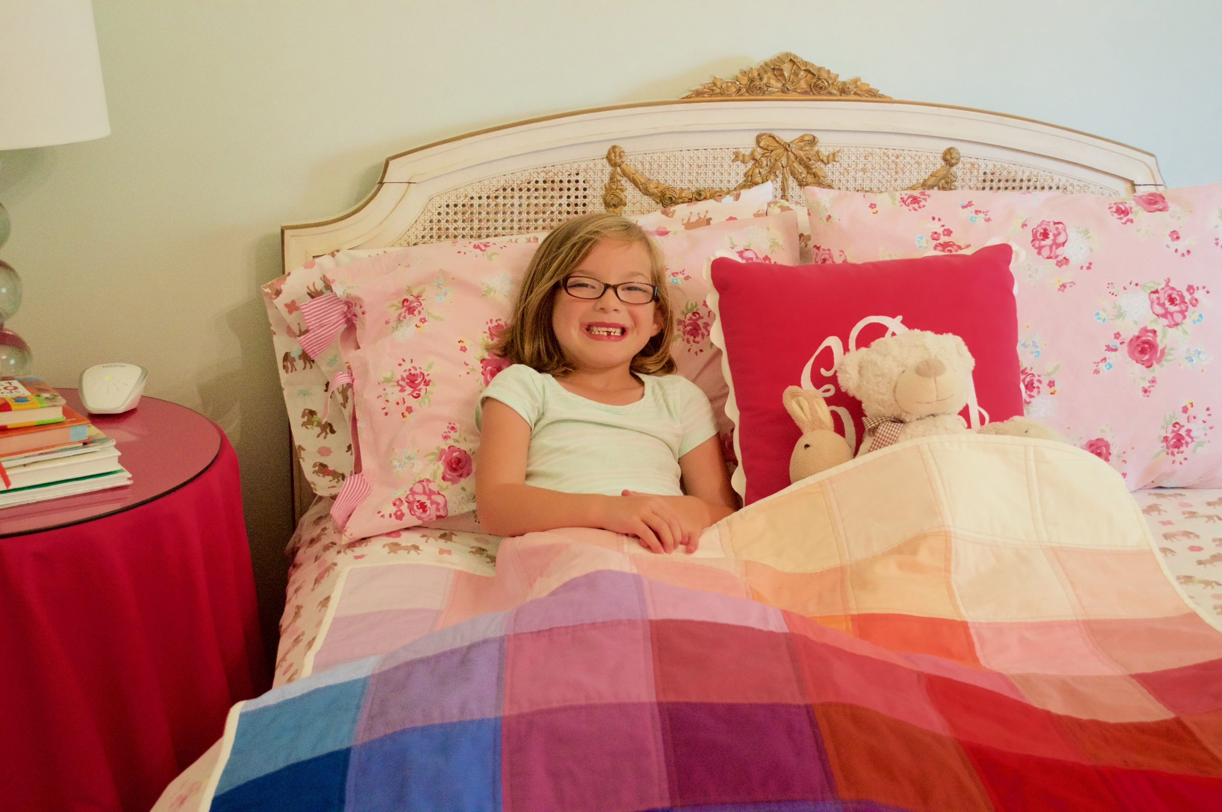 Their big sister thought the pink quilt looked perfect in her room and I agree! Love that she tucked her animals under the quilt too!