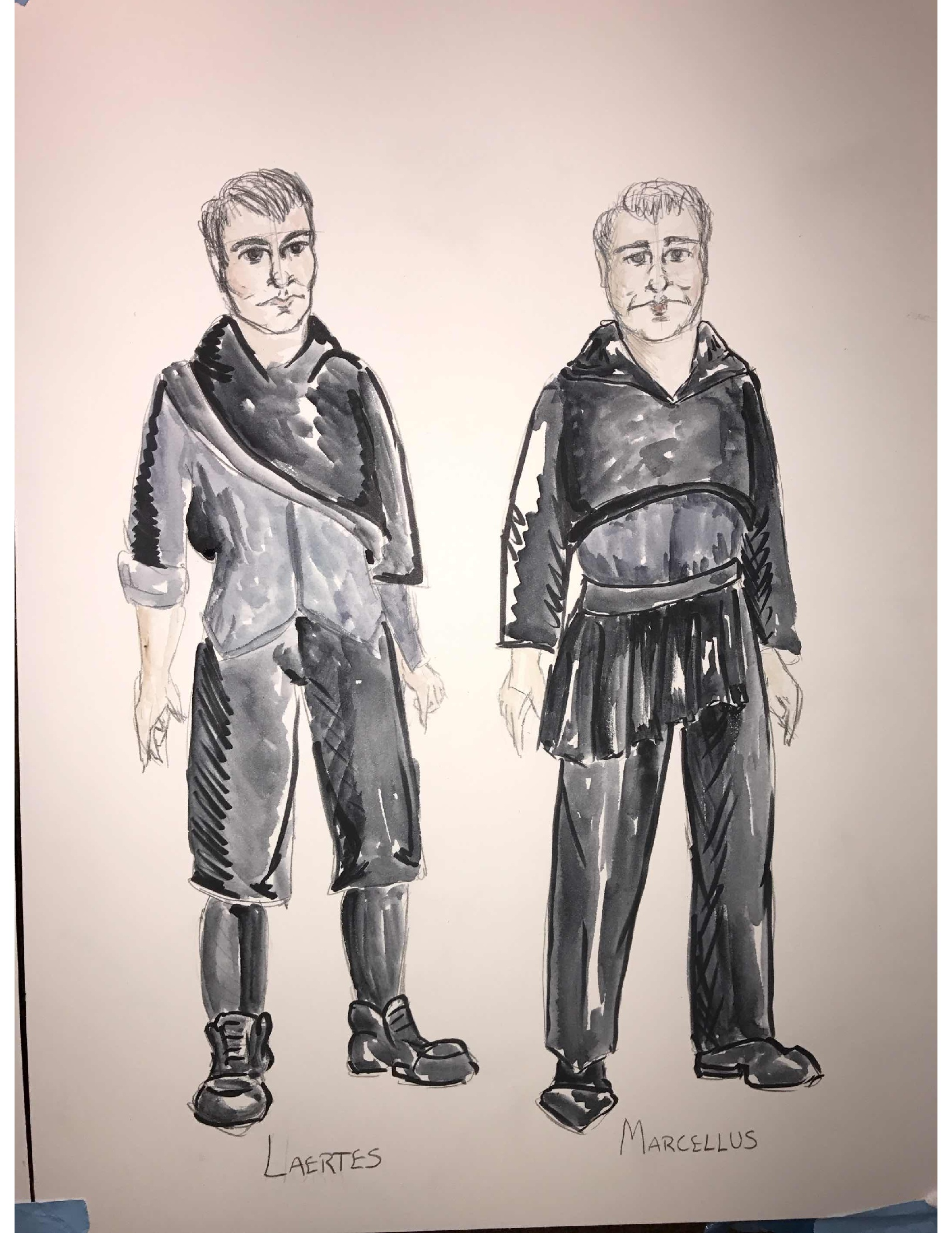 Whitaker's designs for Hamlet, the ghost, Laertes and Marcellus