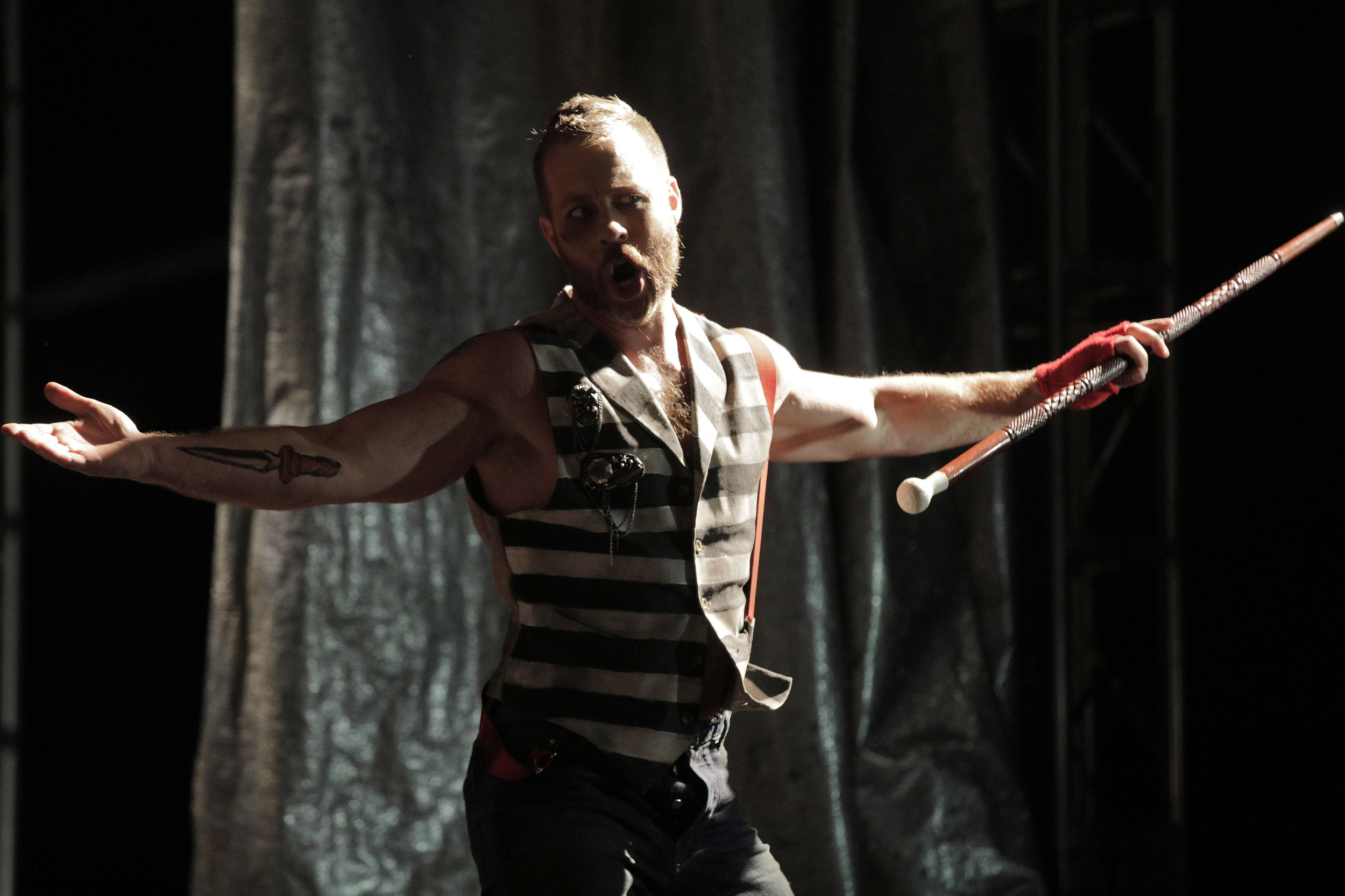 Macheath (Derek Chester) in West Edge Opera's production of The Threepenny Opera
