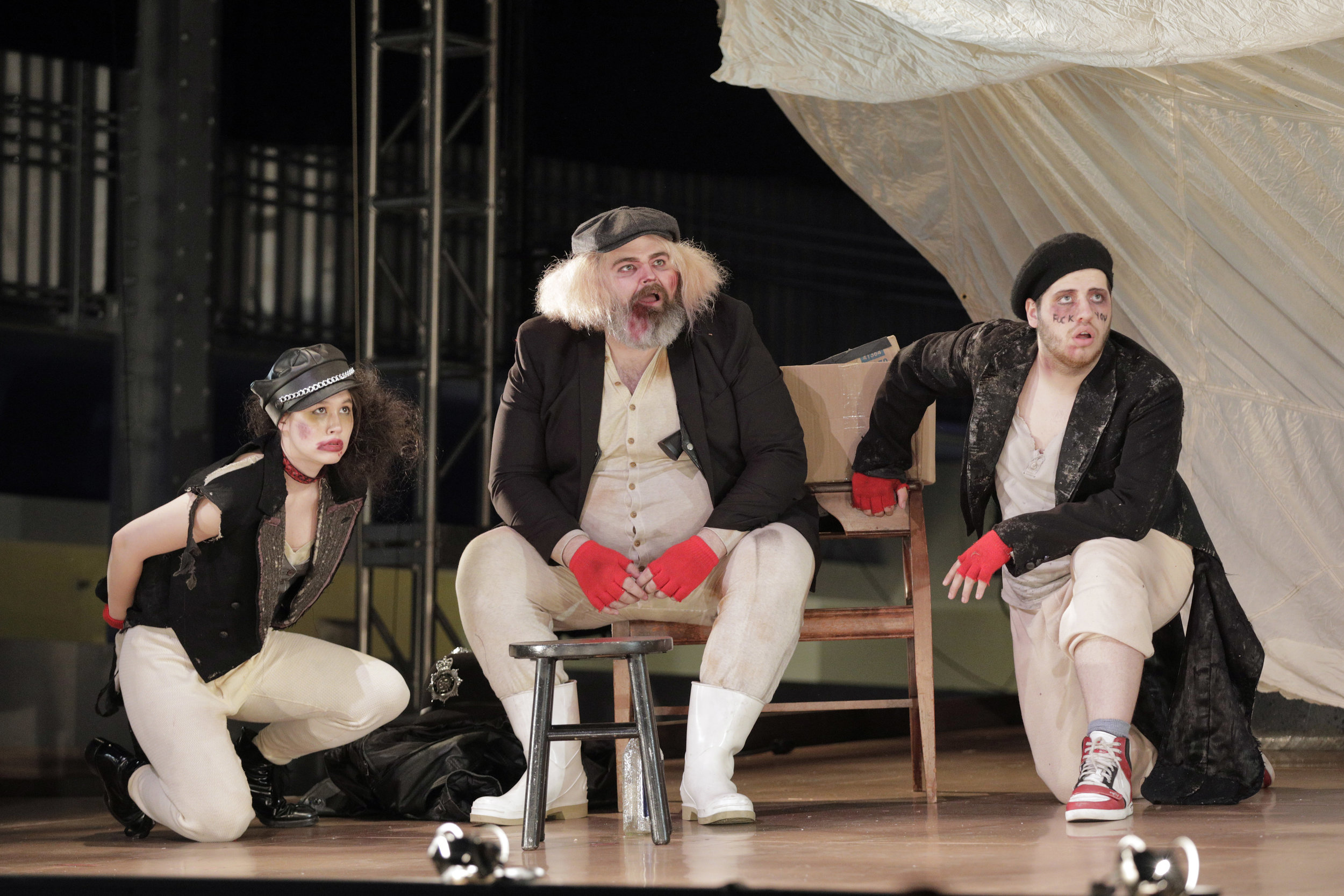 Mack's gang in West Edge Opera's production of The Threepenny Opera