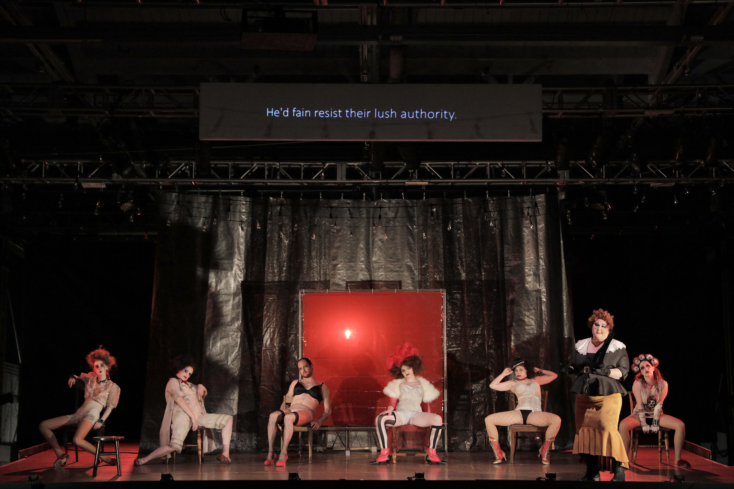Mrs. Peachum (Catherine Cook) confronts Jenny Diver (Sarah Coit) and her prostitutes in West Edge Opera's production of The Threepenny Opera