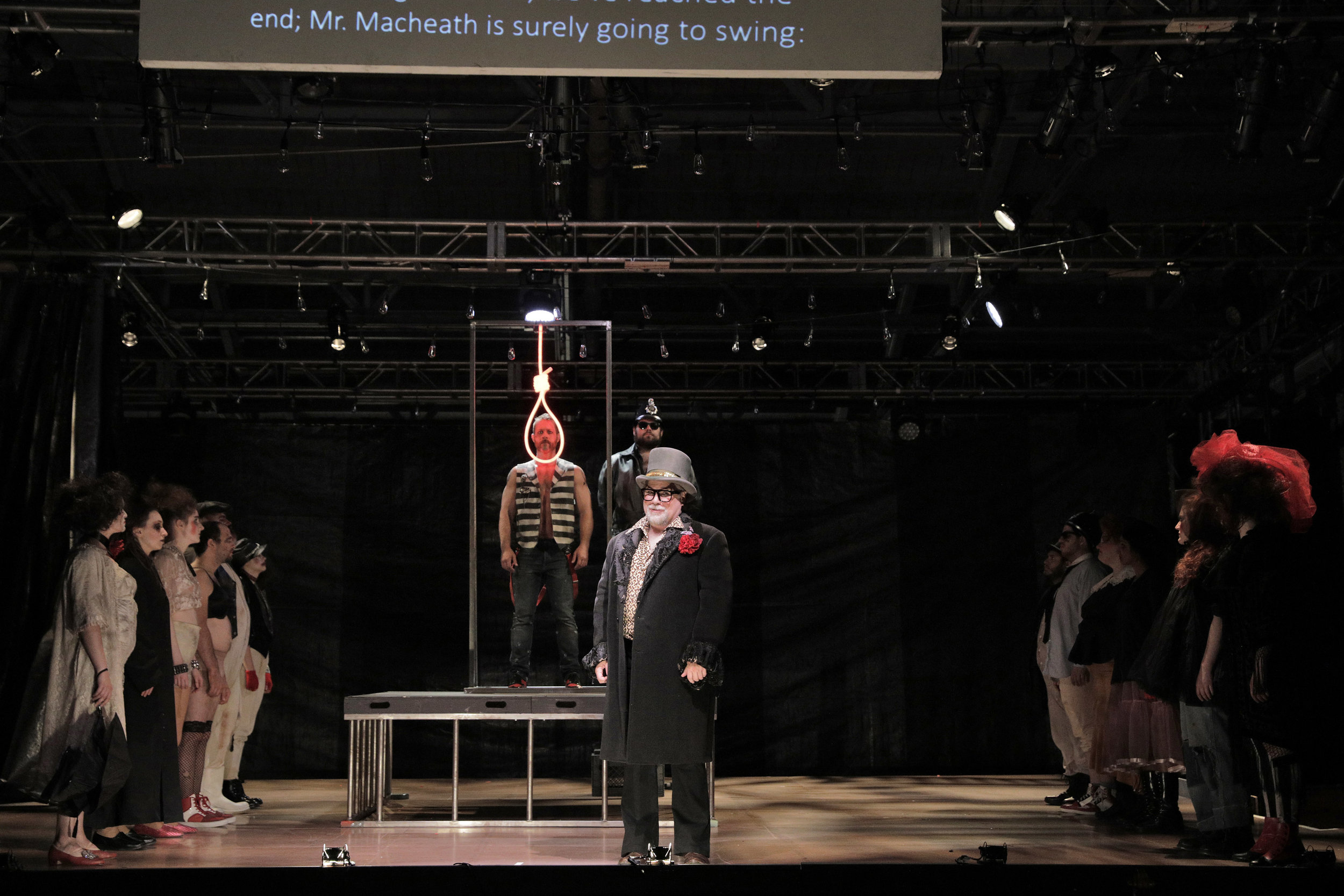 Mr. Peachum (Jonathan Spencer) in West Edge Opera's production of The Threepenny Opera