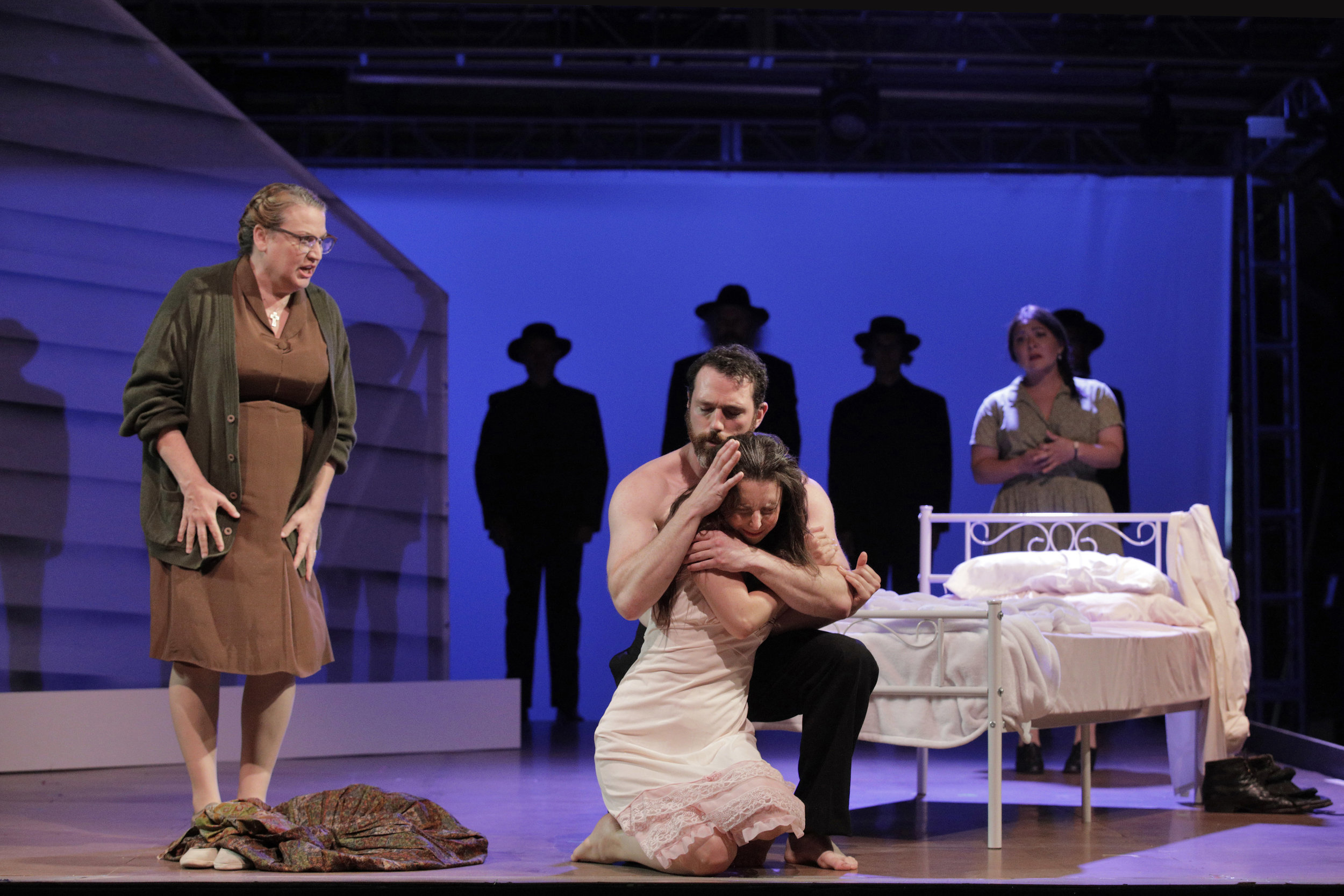 Mrs. McNeill (Kristin Clayton), Bess McNeill (Sara LeMesh), and Jan Nyman (Robert Wesley Mason) in West Edge Opera's production of Breaking the Waves