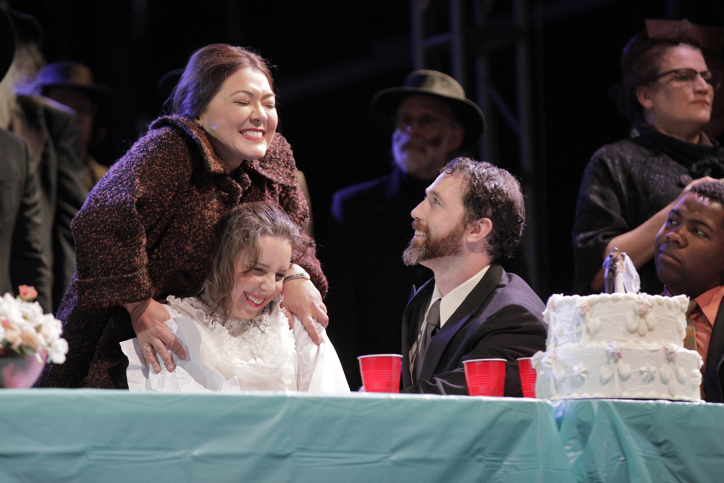Bess McNeill (Sara LeMesh), Dodo McNeill (Kindra Scharich),  and Jan Nyman (Robert Wesley Mason) in West Edge Opera's production of Breaking the Waves