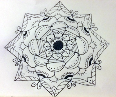 Mandala in progress, by Melissa Black