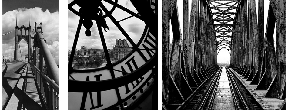 Ray Atkeson, St. John's Bridge, Portland, Oregon, 1947    Chris Bliss, Big Clock, Musee d'Orsay, Paris, 2003    Roman Loranc, Train Bridge Poland, ND