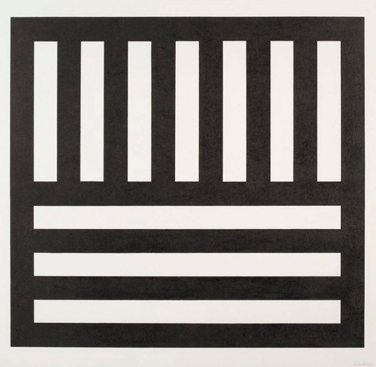 Sol LeWitt, Black Bands in Two Directions, 1990, Woodcut, 32 x 34 inches, Edition of 75