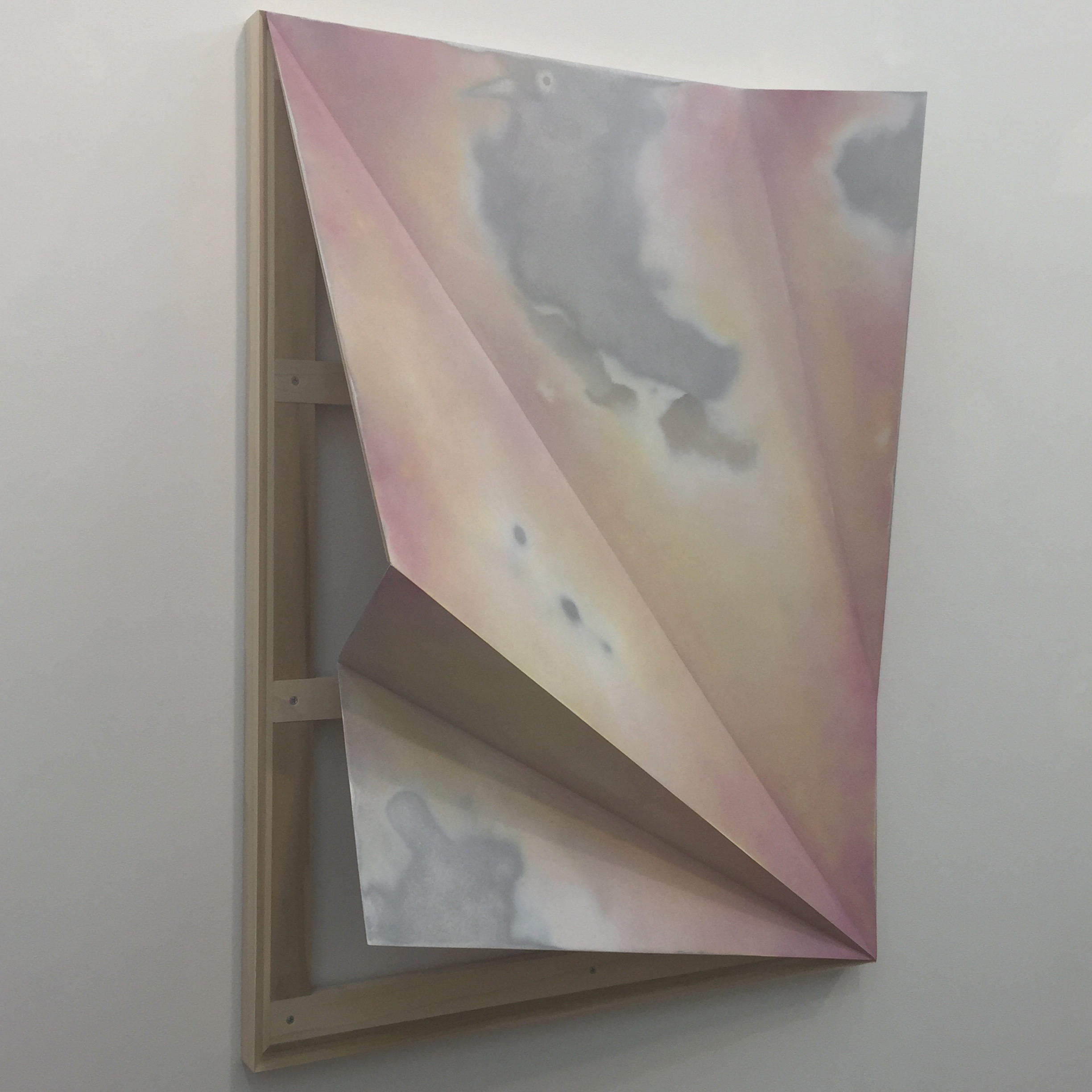 John Dante Bianchi, Untitled (Torqued Panel #15), 2016, Acrylic and aluminum on plywood panel, 40 x 30 x 9 inches