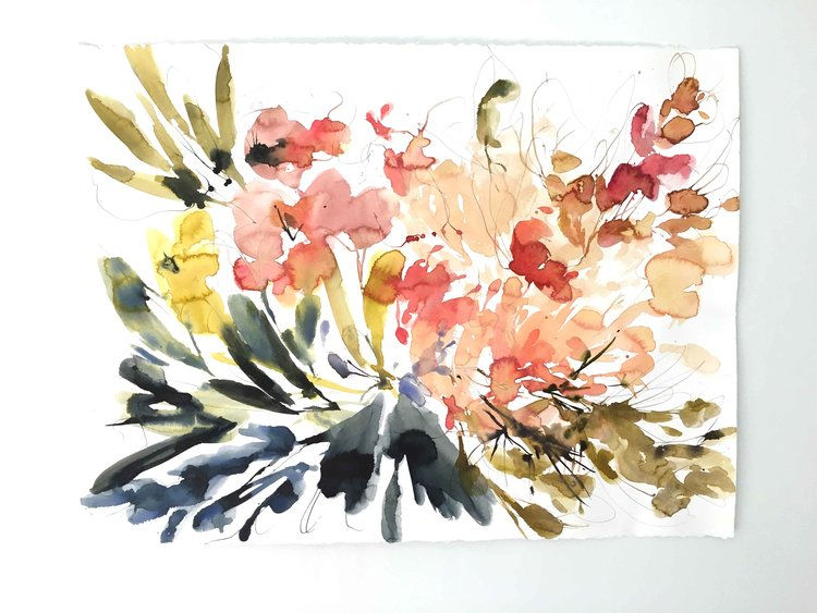 Kelly Ventura, Apricot Fields, 2017 (unique watercolor and pencil)