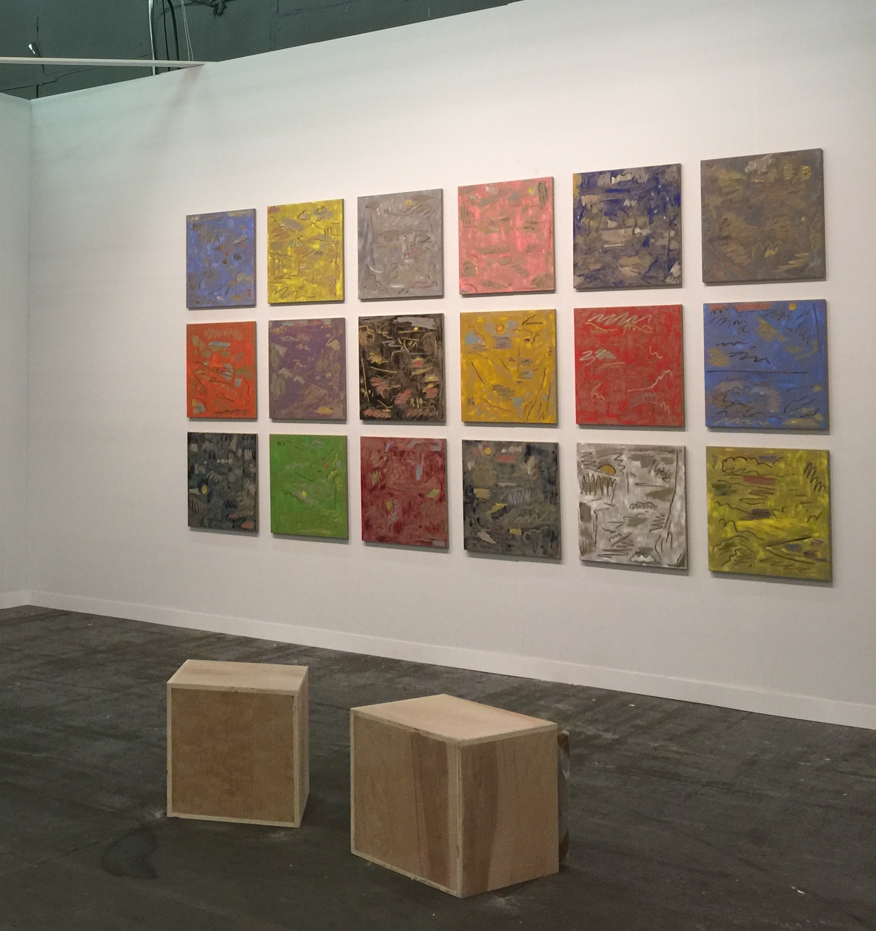 Ryan Nord Kitchen, Installation View at The Armory Show, 2017, Oil on linen, 24 x 21 inches each  Courtesy of the artist and Nicelle Beauchene Gallery, New York