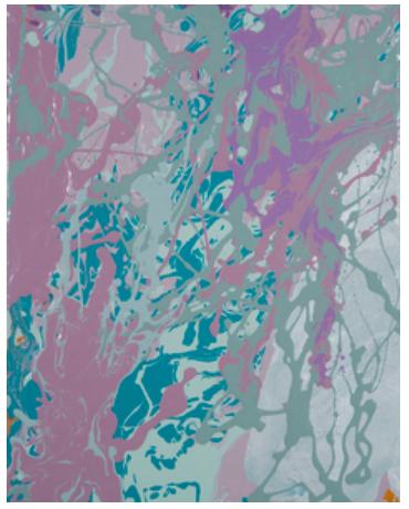 Leah Durner,bluegreenvioeltsilver pour, 2016