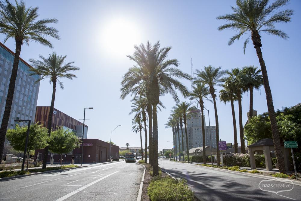 Looking west on Fillmore St. in Phoenix, AZ