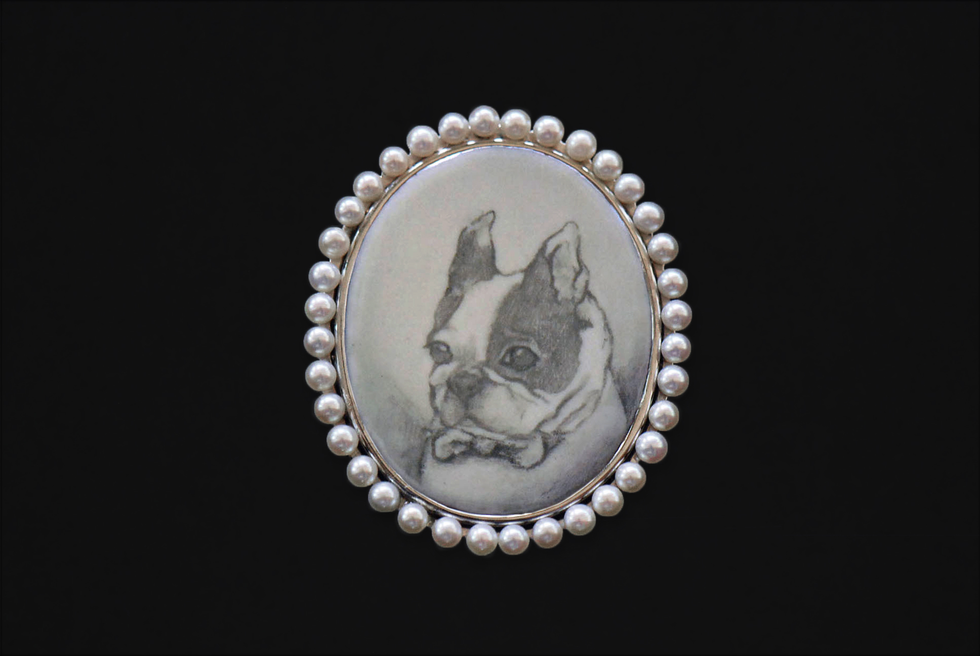 Mr. French Bulldog, December 2015   Sterling Silver, Pearl, Enamel