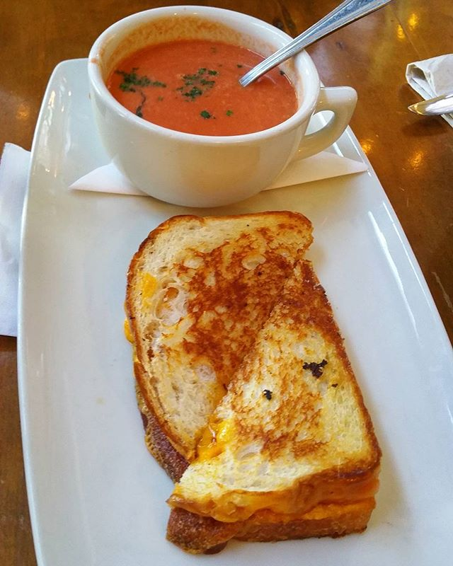 Cheddar grilled cheese at @tupelohoneycafe #Brunch #grilledcheese #cheese #cheddar #soup #tomato #foodlove #foodporn