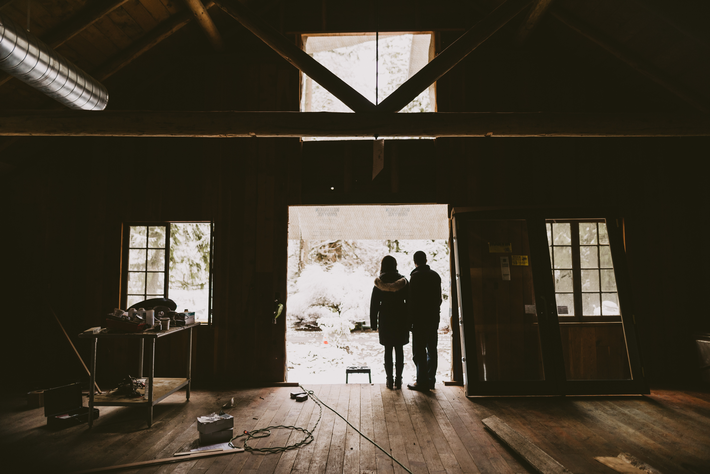 © Isaiah + Taylor Photography - Portland, Oregon Winter Forest Cabin Engagement-5.jpg
