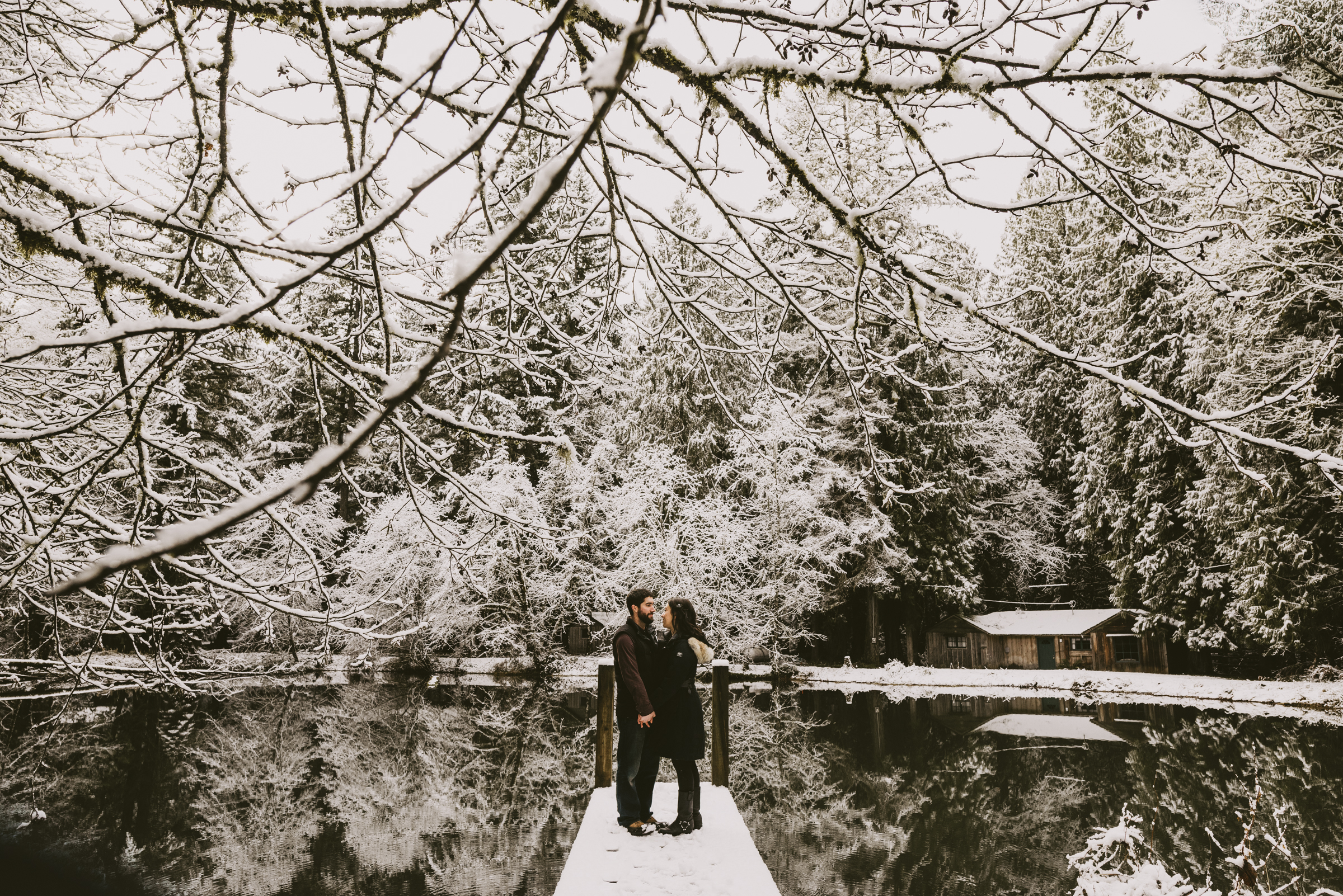 © Isaiah + Taylor Photography - Portland, Oregon Winter Forest Cabin Engagement-9.jpg
