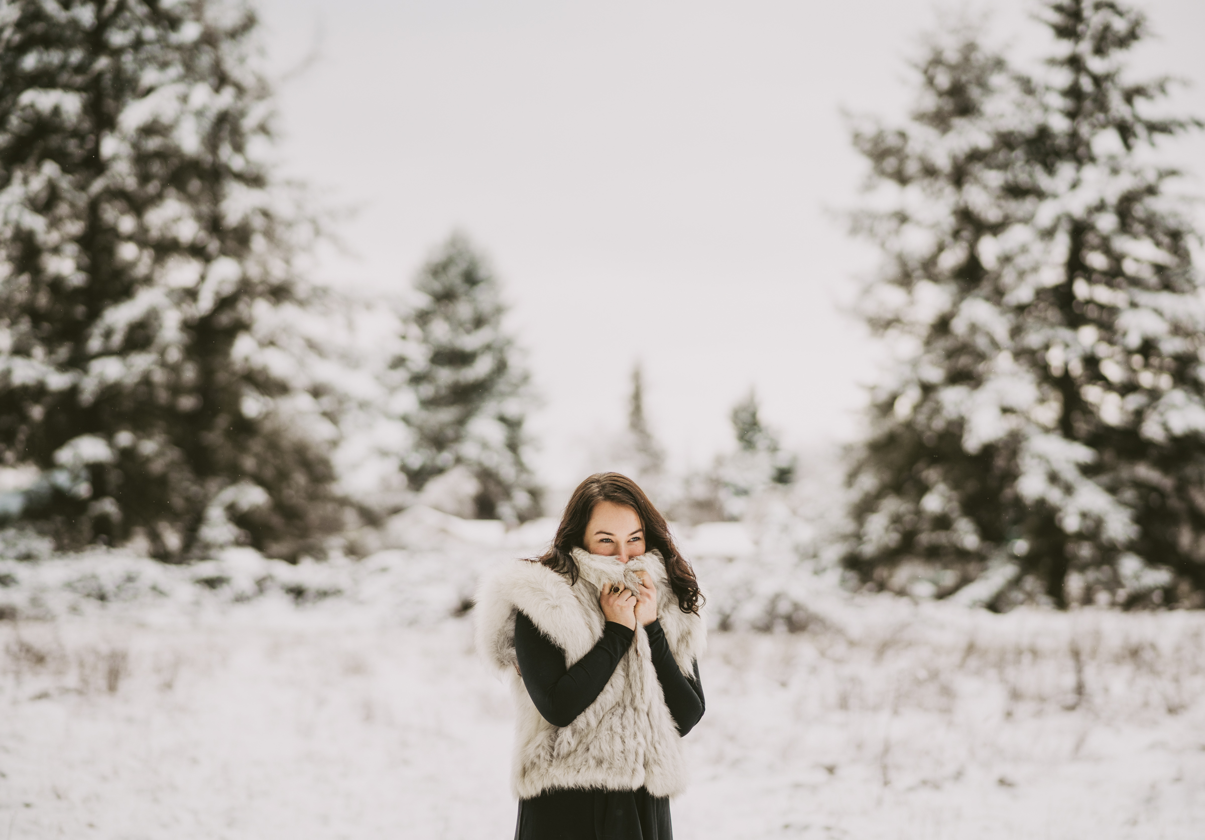 © Isaiah + Taylor Photography - Portland, Oregon Winter Forest Cabin Engagement-35.jpg