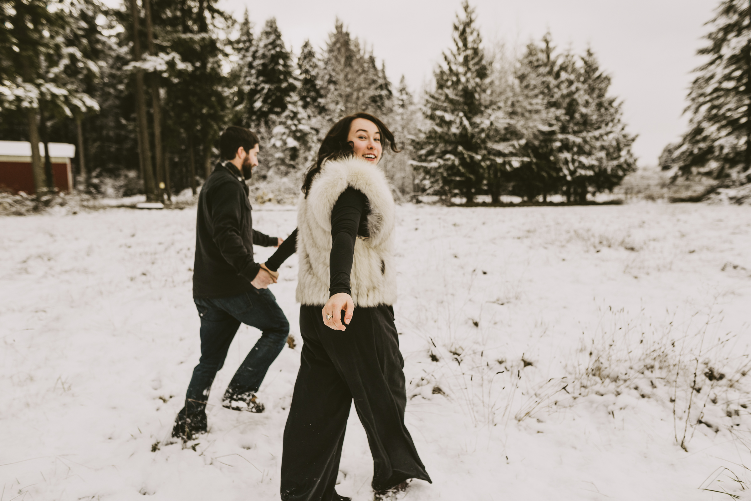 © Isaiah + Taylor Photography - Portland, Oregon Winter Forest Cabin Engagement-40.jpg