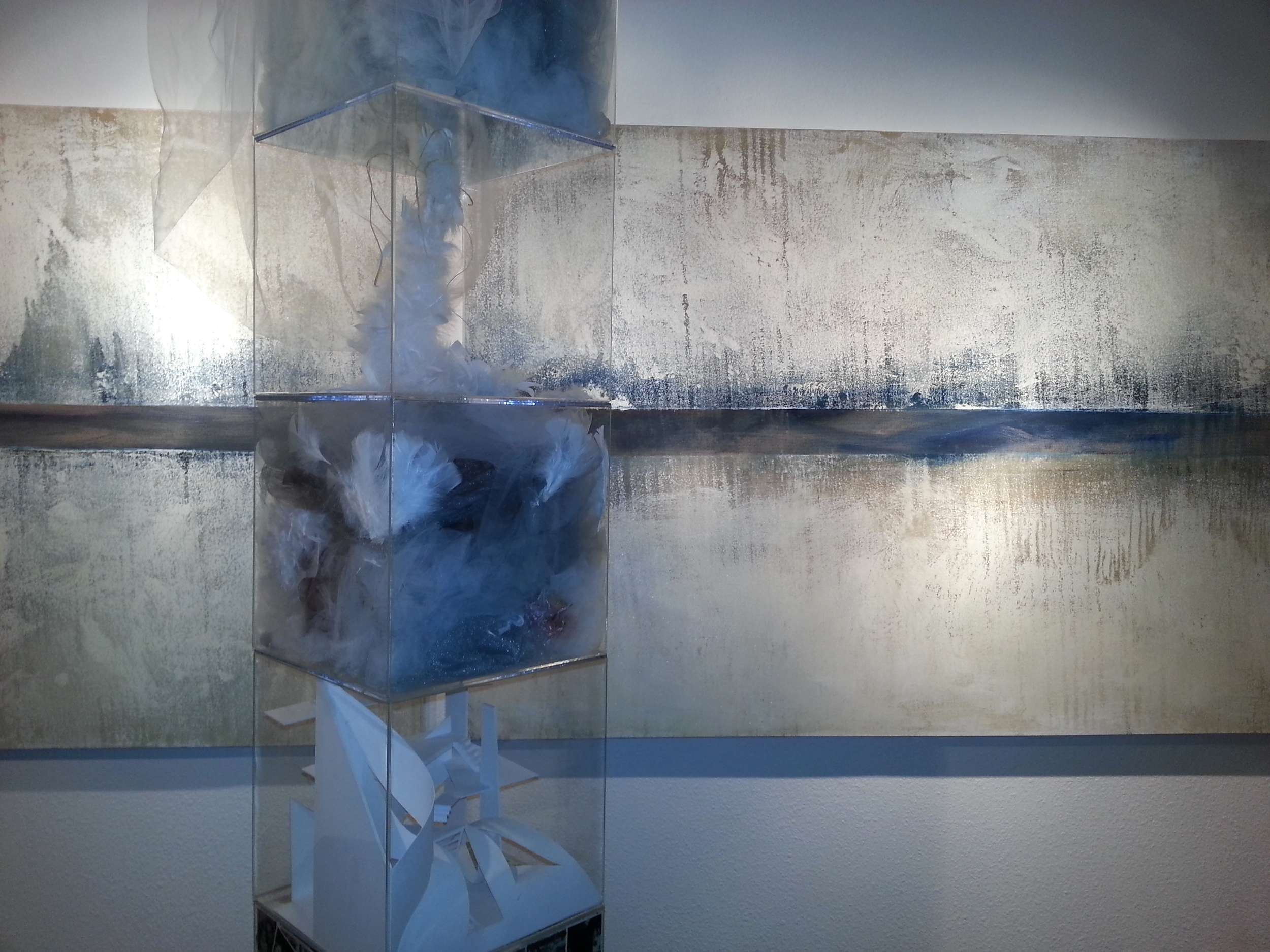 The Structure of Memory 2009 (sculpture) and The Path of Memory 2014 (canvases series)