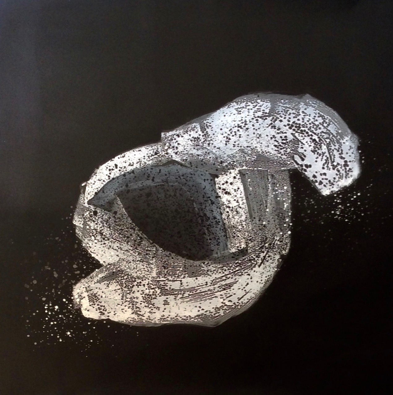 """Space Rock 2, 2018  61 x 61 inches  Acrylic on close cell 2/8"""" black foam"""