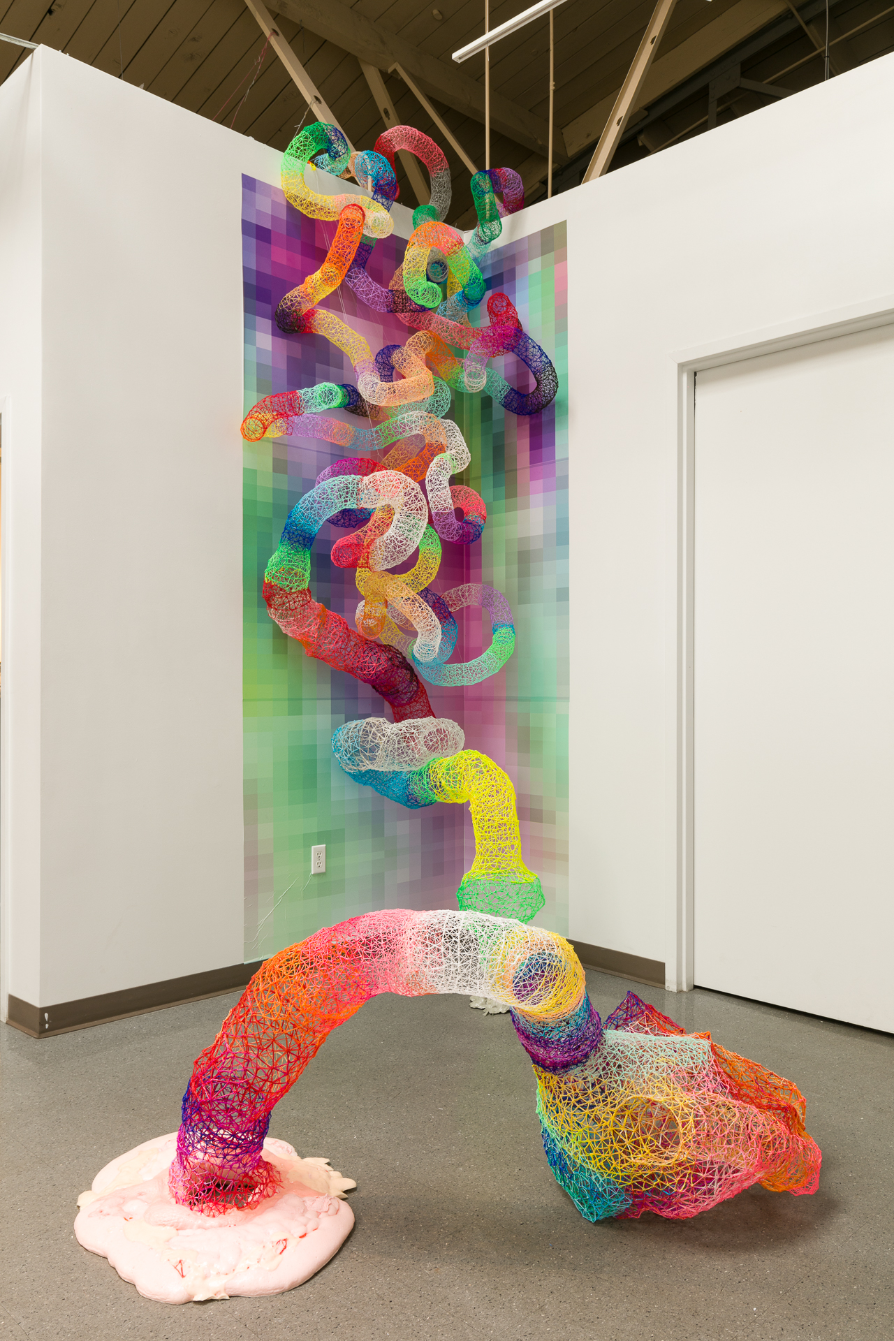"'System Virtue' 2018, 132"" x 72"" x 60"" ABS filament, Digital Print on Adhesive Vinyl, Flex Foam, Pigment  Installation part of 'Reclamation' 965 Gallery, 2018 Denver CO (Photo Wes Magyar)"