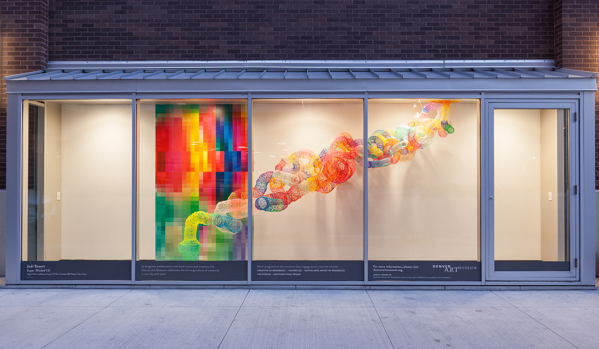 "'Super Wicked #3' 2017 101"" x 290"" x 34"" ABS Plastic, Adhesive Vinyl, Nylon, Flex-Foam  Commission for Skyhouse Denver, in collaboration with Denver Art Museum, Skyhouse Apartments located 18th and Lincoln, Photo Wes Magyar"