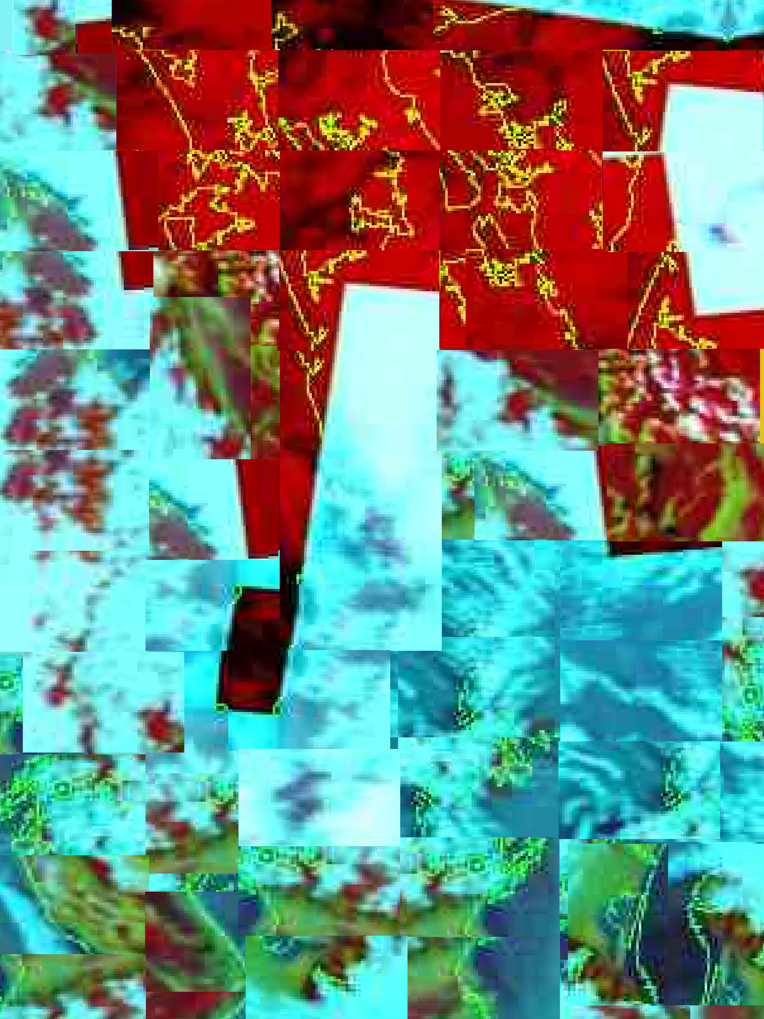 "'Godzown'  2015,   42"" x 56"",   Digital Print,    Digital montage based on satellite image signal distortions, from the Landcare Research weather monitoring site, New Zealand"