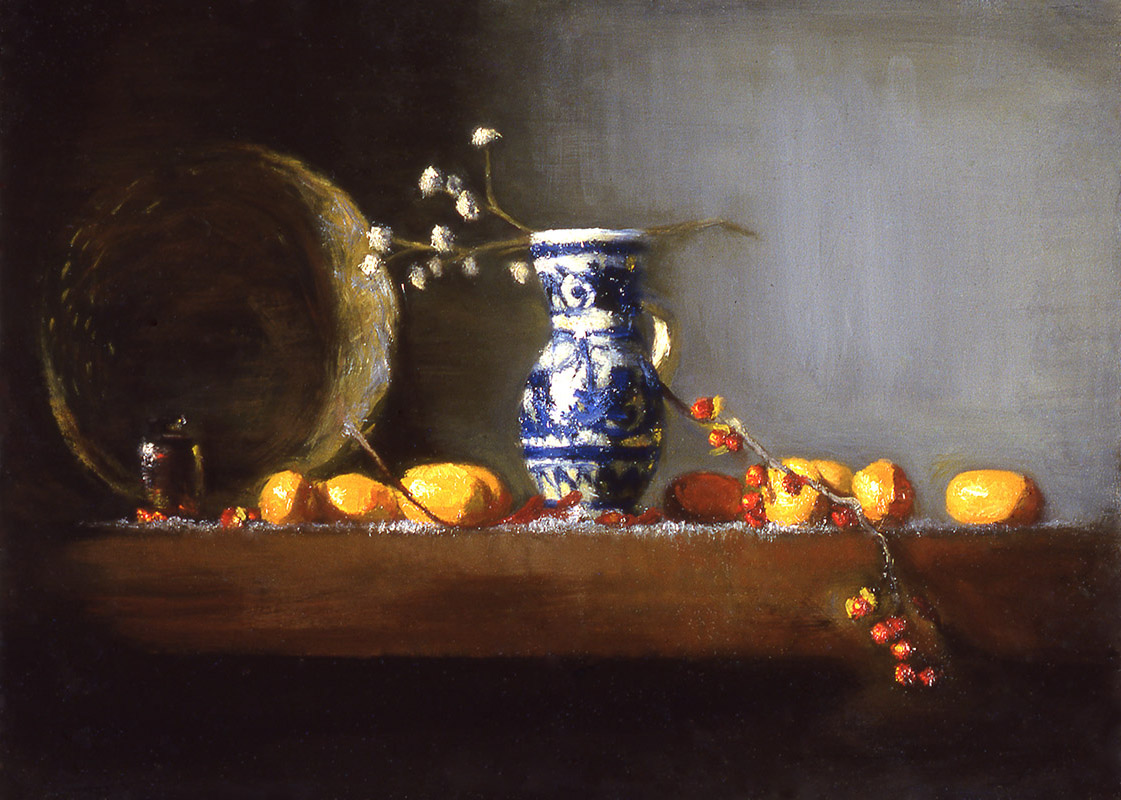 """blue jar and bittersweets: oil on board 10"""" x 15"""" (sold)"""