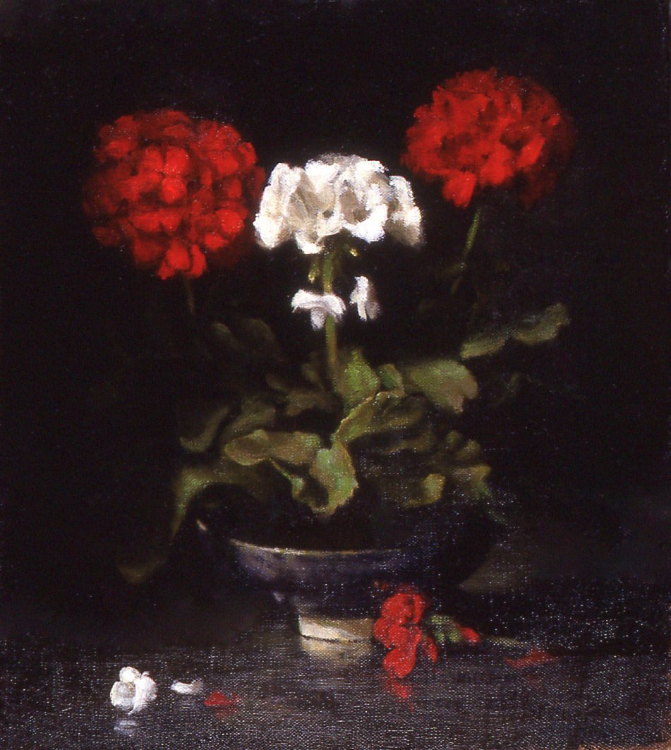 "geraniums: oil on linen 14"" x 16"" (sold)"