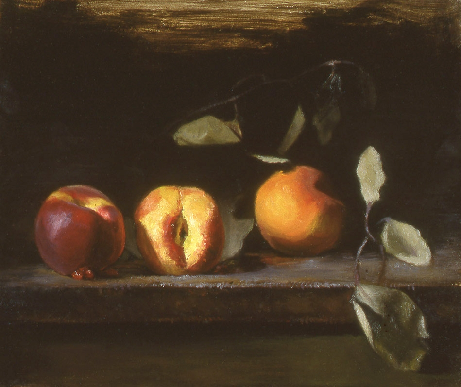 """peaches and leaves: oil on linen 8"""" x 10"""" (sold)"""