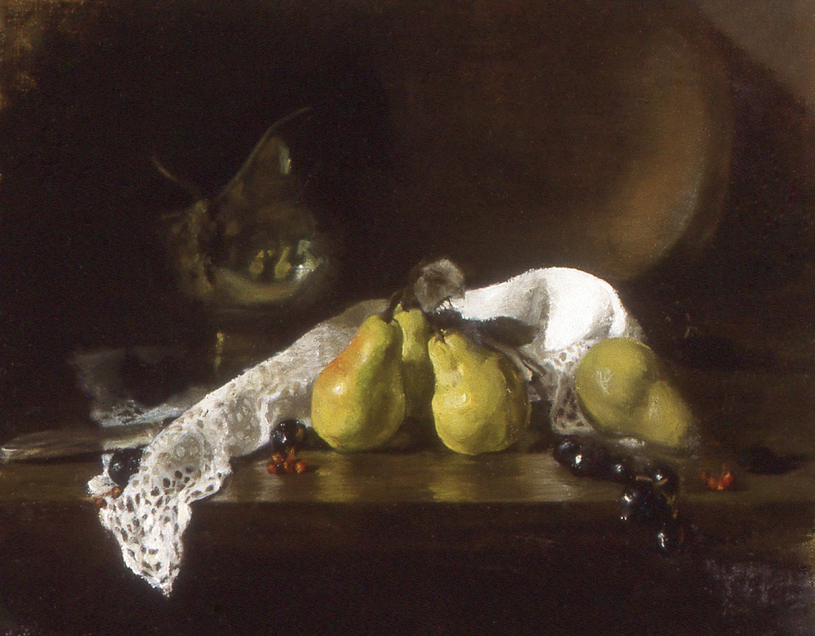 """pears basking: oil on canvas. 12"""" x """"16"""" (sold)"""